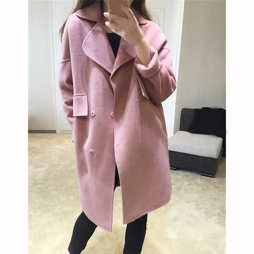 Winter Women Wool Blends Coat Casual Oversize Double Breasted Outwear Loose Long Sleeve Solid Thin Blends Coat Jacket