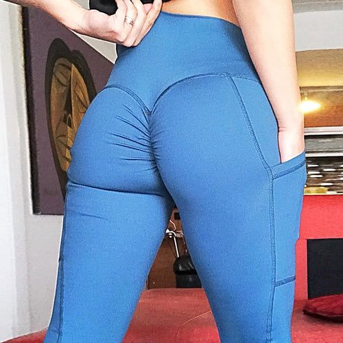 Women Sexy Srunch Butt Leggings With Phone Pocket Workout High Waist Pants Tummy Contral Flex Pants Scrunch Leggings