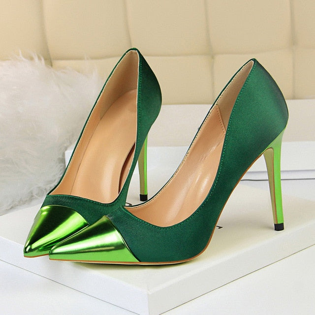 758f3774031e ... Load image into Gallery viewer, 2019 Fashion 10cm High Heels Women  Valentine Blue Green Pumps ...