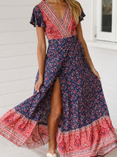 Load image into Gallery viewer, 2019 Summer Long Boho Dress Women Maxi Party Dress Bodycon V-neck Floral Beach Dresses Short Sleeve Flower Floor Length Dress
