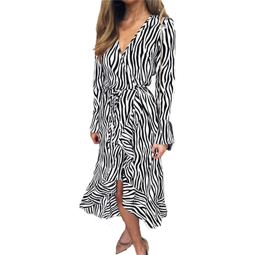 Summer Chiffon Dress Long Sleeve Zebra Striped Print Dress Ruffles Casual A-Line Midi Vintage Party Dresses
