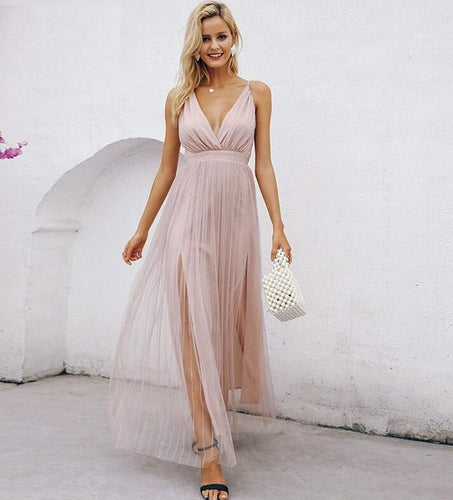 pink lace Elegant v-neck evening maxi dress sexy long party dress vestido festa