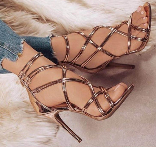 Gold High Heels Women Shoes Sexy Lady Praty Shoes Women Pumps 11 CM Women Heeled Sandals