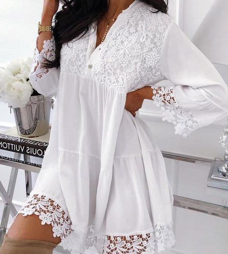 White Cotton Sexy New 2019 Summer Sheer V-Neck Lace Beach Cover Ups Sexy Kaftan Bikini Swimsuit Cover Up Dress