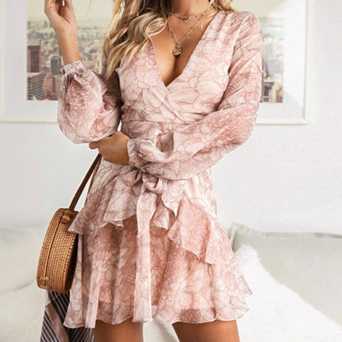 Vintage Print Female Elegant Party Short Dress Bow Sexy Ruffles Chiffon Dress Women Vestidos 2 Colors