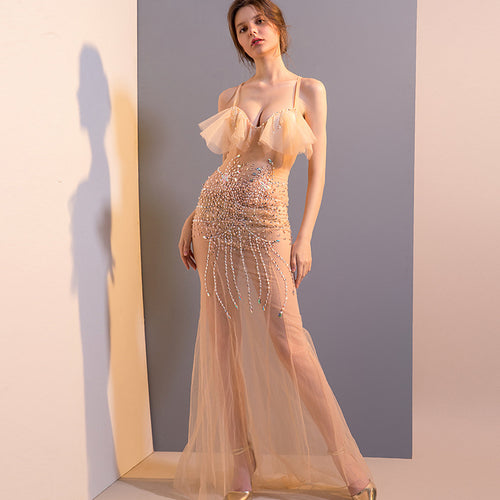 Sexy See-Through Spring Mesh Lace V-Neck Long Romantic Maxi Dress
