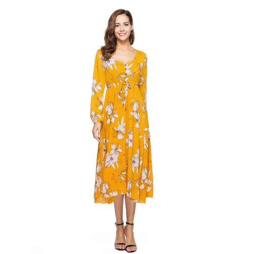 V-Neck Floral Summer Long Sleeve Yellow Printed Maxi Dress