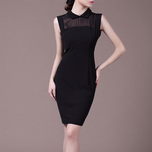 Black Elegant Gauze Patchwork Sleeveless Mid-Waist Pencil Midi Dress