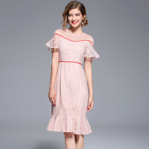 Round Collar Ruffled Sleeves Pink Lady Bronzed Mesh Strapless Dress Fishtail Midi Dress