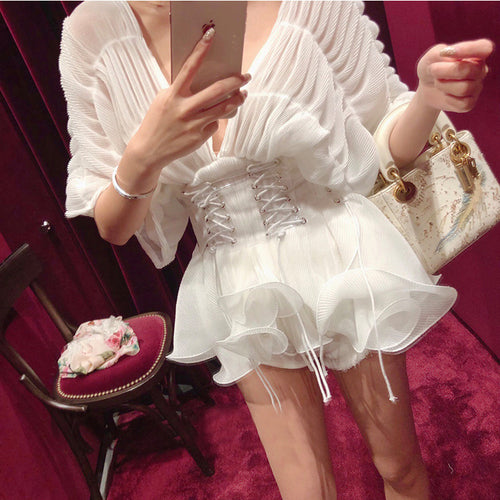 Elegant Sexy White Chiffon Medium Sleeve Princess Shirt With Waist Sealing Top Blouse