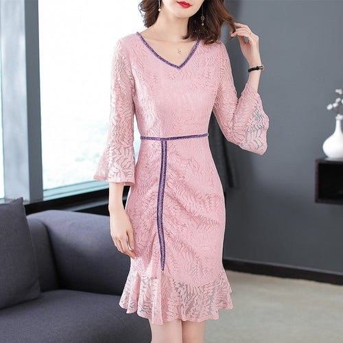 V-Neck Ruffled Pink Lady Seven-Point Flared Sleeve Fishtail Dress Lace Midi Dress