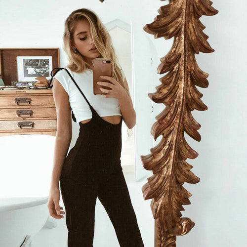 Black High Waist Wide Leg Pants Casual Lace Up Overalls  Summer Fashion Flare Trousers