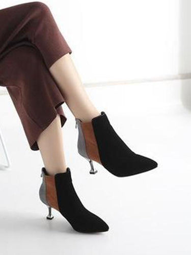 Pointed Scrub Short Boots Colorblocked Stiletto Martin Boots