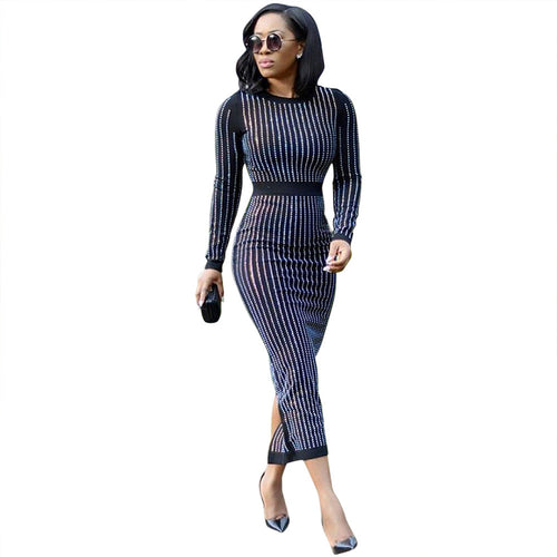 Women Autumn Winter Black Sexy Long Sleeve Diamonds Studded Bodycon Midi Dresses