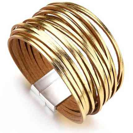 Gold Silver Color Leather Bracelets For Women 20 Strips Boho Multilayer Wide Wrap Bracelet Jewelry