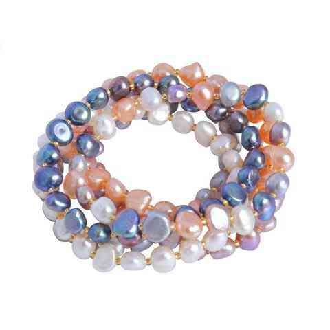 Multi Color Baroque Pearl Crystal Beaded Bracelets Bangles Fi Jewelry Gift