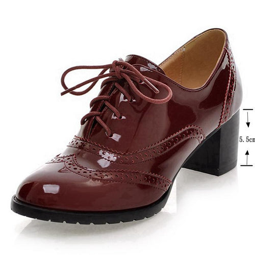 Oxford shoes brogues Patent leather pumps chunky Heels Pumps Women Lace up plus size