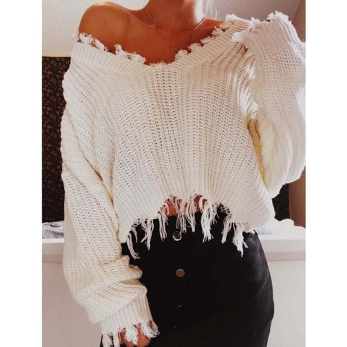 Knitted Sweater Autumn Women One Size Ripped Deep-V Loose Sweater Pullovers Ladies Solid Color Tassel Sweaters Tops 2018