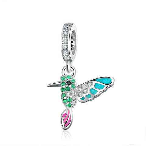 Sterling Silver Green Warbler Pendant Colorful Bird Animal Charms Fit Charm Bracelets Bangles Jewelry
