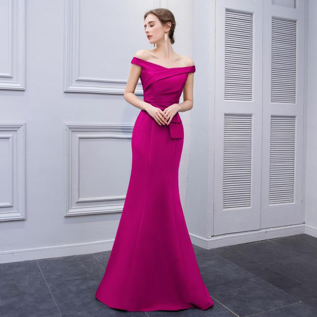 7be6607cb96 Berylove Simple Mermaid Purple Satin Evening Dresses 2018 Long Off ...