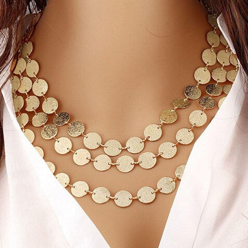 Gold Silver Color Multilayer Sequins Statement Bib Chokers Necklaces Women Choker Boho Jewelry Kolye 2018