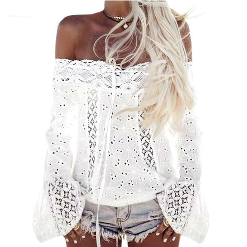 Boho Top Off Shoulder Shirt Women White Lace Blouse Hippie Chic Clothing Summer Beach Tunic Chemise Femme Blusas Feminina