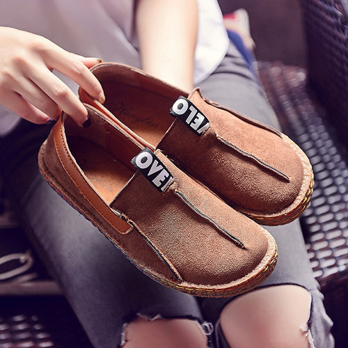 Trend Brand Espadrilles Shoes Woman Slip On Loafers Shoes Women Flats Female Solid Color Moccasins Hand-sewn Retro