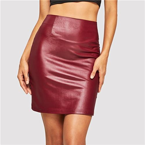 Red Zipper Up Sexy Winter Leather Skirt Autumn Streetwear Pencil Skirts Women Club Mini Skirt
