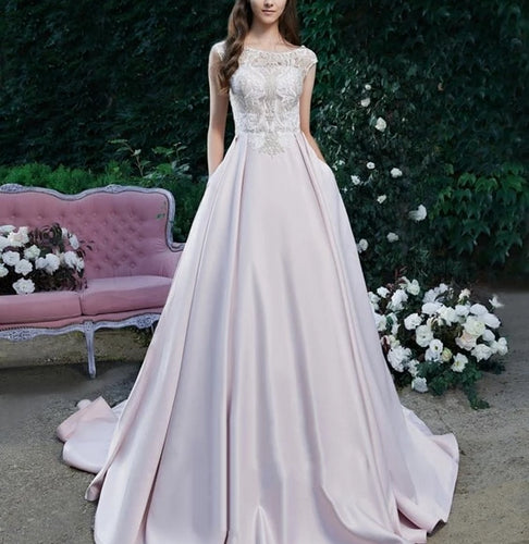 Candy Colors A-line Appliques Satin And Sweep Train O-neck Sleeveless Lace Top Elegant Evening Gown