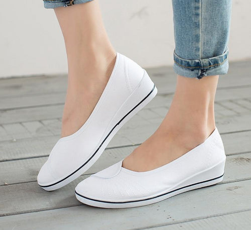 Women Loafers Soft Slip On Canvas Flats Shoes Woman Solid Casual Breathable Shoe For Mother Platform Shoes
