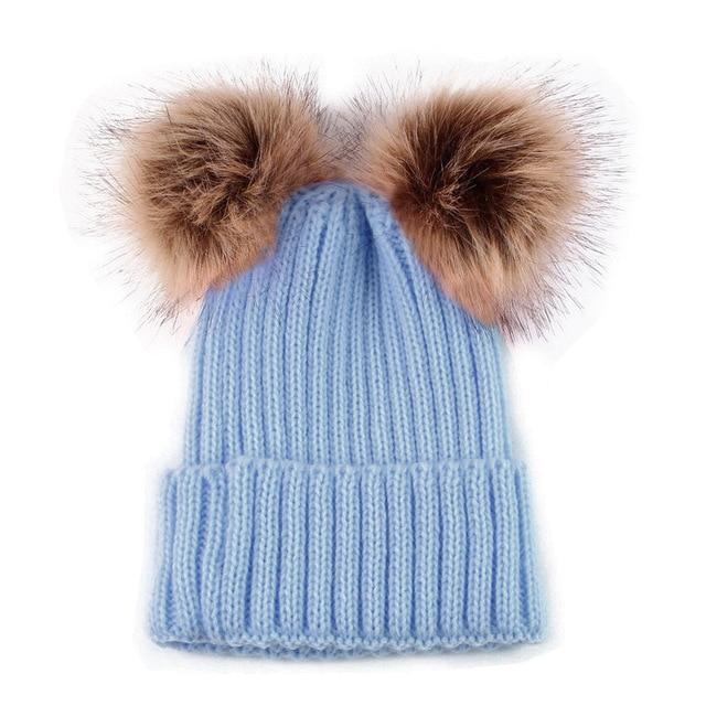 9a57b6f68c7 Cute Parent-Child Hat Mother Kids Double Pom Pom Winter Cap Beanie ...