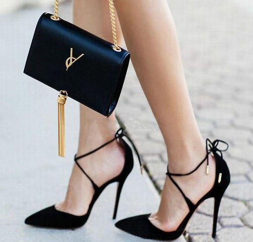 New Summer Style women Lace Up high heels Pointed Toe Bandage Stiletto sandals celebrity ladies shoes Pumps Black