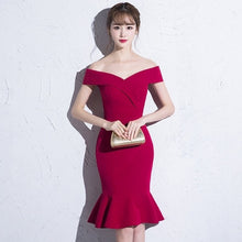 Load image into Gallery viewer, Short Burgundy Prom dresses 2019 new arrival fashion Sexy Mermaid Party Women Performance Dress