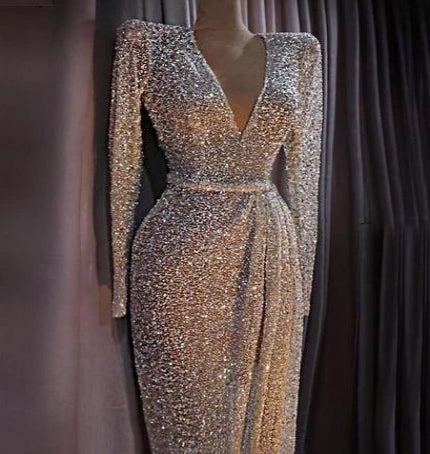 dubai luxury gold long sleeve evening gown Latest Evening Gown Designs Beading Sequined Evening Gown Real Photo