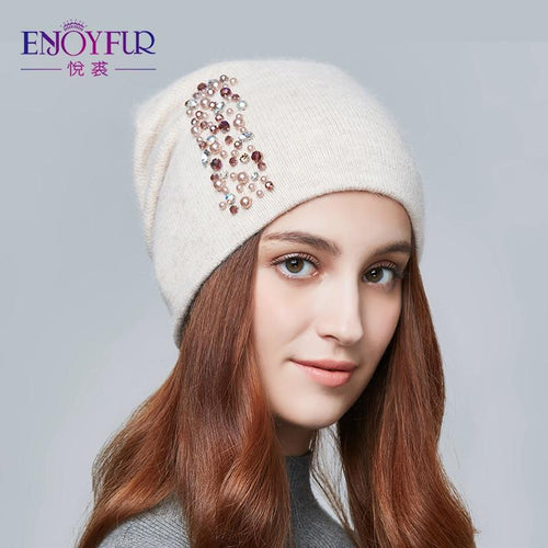 Winter Hats For Women Knitted Wool Warm Hats Lady Fashion Rhinestones Beanies Skull Cap