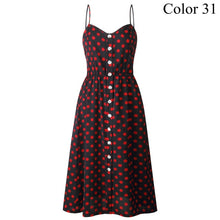 Load image into Gallery viewer, Elegant Button Women Dress Polka Dots Red Cotton Midi Dress 2019 Summer Casual Female Plus Size Lady Beach vestidos FICUSRONG