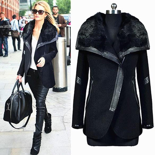 Elegant Female Overcoat New Fashion Winter WomenS Black Fur Collar Long Sleeve Zipper Woolen Winter Long Coats For Women
