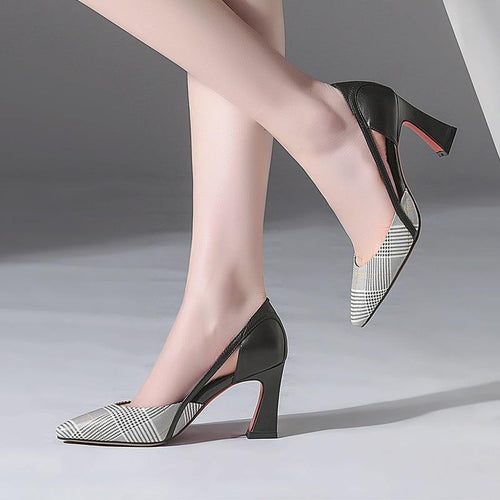new leather women shoes round head thick with leather high heels hollow single shoes