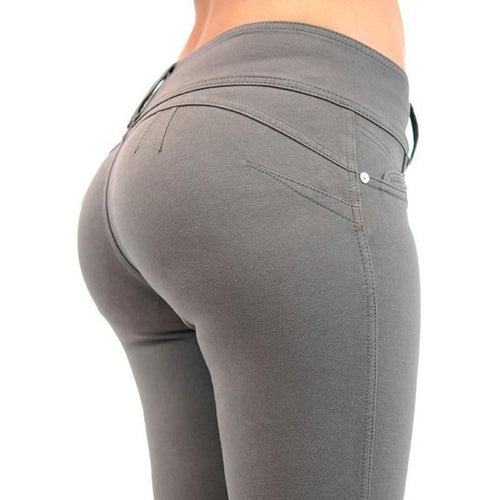 Fashion Spring Pencil Pants Women Mid Waist Button Elastic Trousers Skinny Solid Zipper Women Pants Slim Gray Black Blue