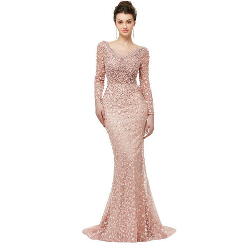 Luxury Pink Prom Dresses 2019 New Arrival Beading Long Sleeves Formal Party Gowns Plus Size Custom Made