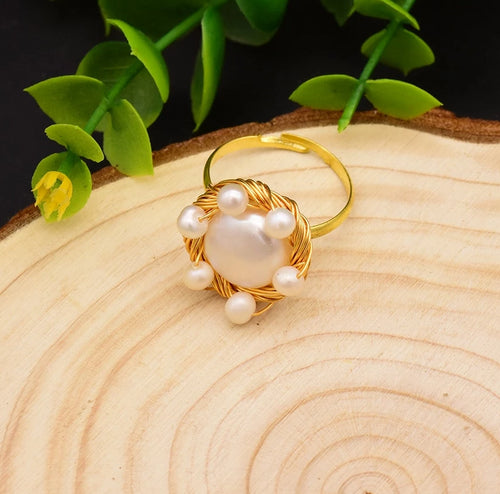 Natural Fresh Water Baroque White Big Pearl Rings For Women Wedding Gift Handmade Personality Ring Fine Jewellery GR0194