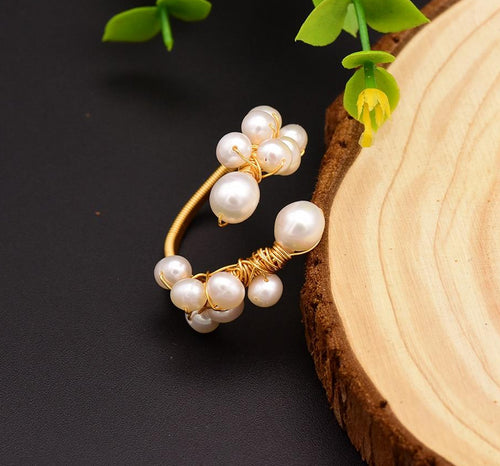 Natural Fresh Water Baroque White Pearl Adjustable Rings For Women Handmade Wedding Ring Jewelry Anelli Donna GR0190