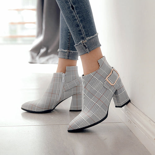 Autumn New Boots Women Gingham High Heel Female Martin Plaid Buckle Strap Fashion Pointed Toe Ankle