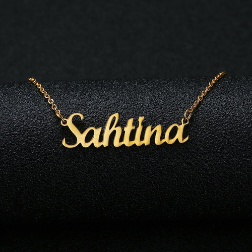 Gold Silver Color Personalized Custom Name Pendant Necklace Customized Cursive Necklace Women Handmade