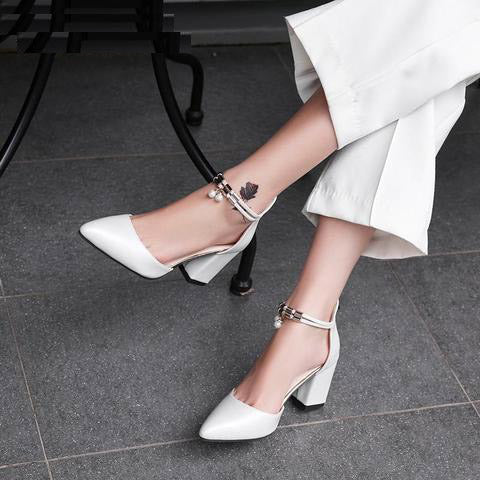 Hot Dress Shoes High Heels Boat Shoes Wedding Shoes Summer Women Shoes Pointed Toe Pumps Side With Pearl