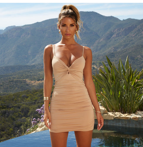 NewAsia 2 Layers Ruched Sexy Bodycon Dress Women Summer Dress Elegant Mini Dress Party Club Wear Ladies Dresses Christmas Gift