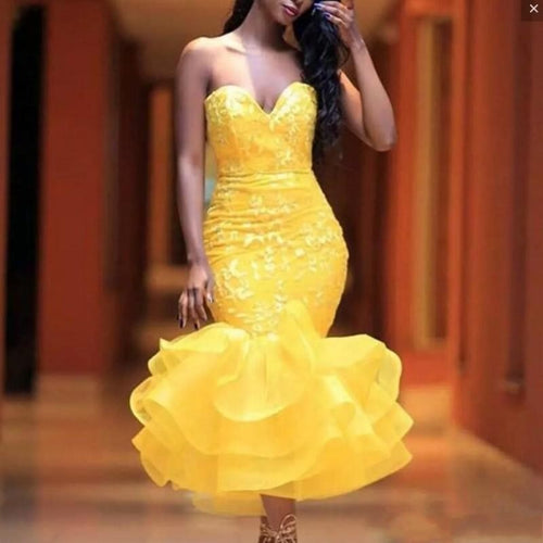 Hippie Style Yellow Prom Dresses Tea Length African Short Evening Party Dress Ruffled Ruch Bottom Formal Gown