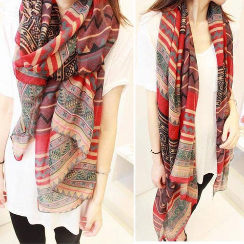 New Lady Vintage Women Long Soft Cotton Voile Print Scarves Shawl Wrap Scarf