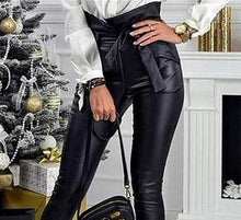 Load image into Gallery viewer, Gold Black Belt High Waist Pencil Pant Women Faux Leather Pu Sashes Long Trousers Casual Sexy Exclusive Design Fashion