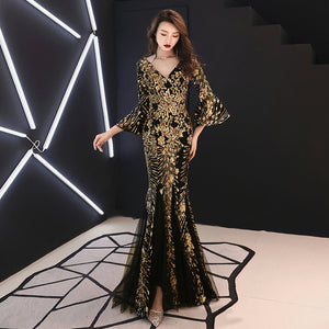 71c6c60485ca Evening Dress Champagne Gold Sequins Charming Formal Trumpet Gown V-neck  Flare Sleeve Long Party Dresses E063